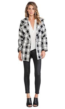 Greylin Weston Plaid Oversize Wool Coat in Black & White
