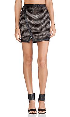 Greylin Czar Tweed Wrap Skirt in Black