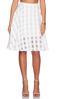Greylin Mayra Check Midi Skirt in White
