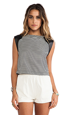 Greylin Casey Striped Cropped Top in Black & White