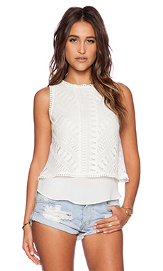 Greylin Sasha Lace Twofer Top in Ivory
