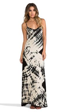 Gypsy 05 Deep V Maxi Dress in Black & Bone