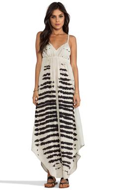 Gypsy 05 Mixed Silk Paneled Maxi Dress in Black