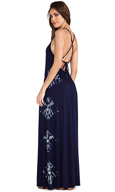 Gypsy 05 X Back Maxi Spaghetti Dress in Navy Multi