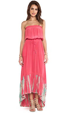 Gypsy 05 Smocked Tube Maxi Dress in Raspberry & Cream
