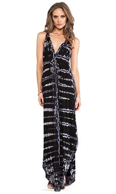 Gypsy 05 Backless Maxi Dress in Black & Blue