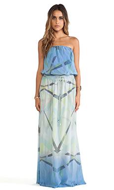 Gypsy 05 Printed Silk Tube Maxi Dress in Lavender
