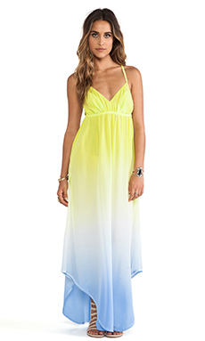 Gypsy 05 Triangle Spaghetti Panel Dress in Sky & Lime