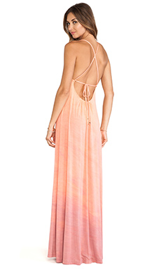 Gypsy 05 Desouk Tie Back Maxi Dress in Peach & Rose
