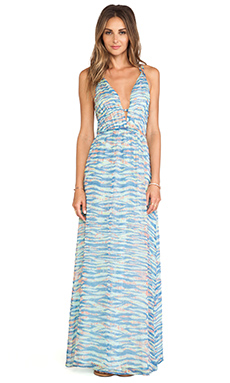 Gypsy 05 Suez V Front Maxi Dress in Blue & Orange Mix