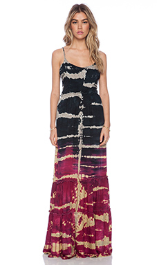 Gypsy 05 Smocked Maxi Dress in Black & Cranberry