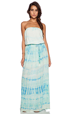 Gypsy 05 Silk Tube Maxi Dress in Aqua