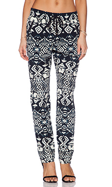 Gypsy 05 Silk Drawstring Trouser in Black & Bone