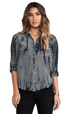 Gypsy 05 Foundation Silk Button Down With Pockets in Black/Asphalt