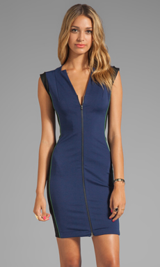 Halston Heritage Sleeveless Zip Front Ponte Dress With Colorblock Detail in Midnight/Black/Loden