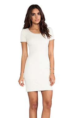 Halston Heritage Short Sleeve Scoop Neck Ponte With Charmeuse Trim Detail in Cream