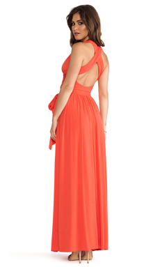Halston Heritage Sleeveless V Neck Gown With Crisscross Detail in Fire