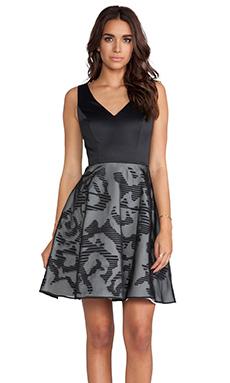 Halston Heritage V-Neck Dress with Stripe Skirt in Black & Chalk