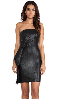 Halston Heritage Strapless All-Over Sequin Dress in Black