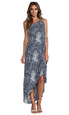 Halston Heritage One Shoulder Printed Gown in Navy & Chalk