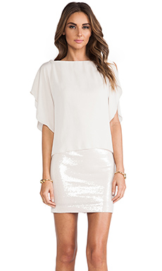 Halston Heritage Sequin Detail Dress in Shell
