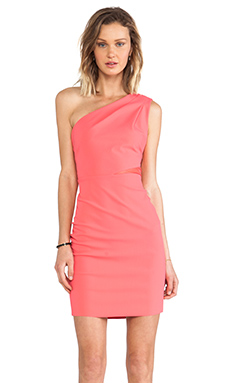 Halston Heritage One Shoulder Ruched Dress in Coral