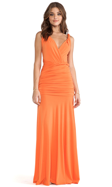 Halston Heritage Ruched Maxi Gown in Tangerine