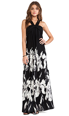 Halston Heritage Halter Strap Printed A-Line Gown in Black