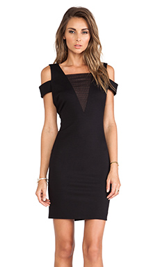 Halston Heritage Off the Shoulder Mesh Insert Dress in Black