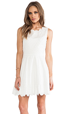 Halston Heritage Flare Eyelet Embroidery Dress in Linen White