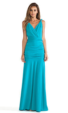 Halston Heritage Ruched Maxi Gown in Caribbean
