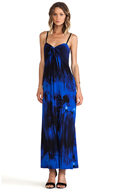 Halston Heritage Cami Printed Jersey Maxi in Bright Cobalt Midnight Rose Print