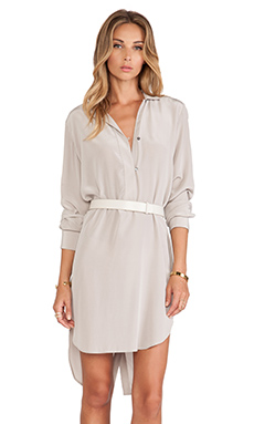Halston Heritage Long Sleeve Shirt Dress with Belt in Stone Grey