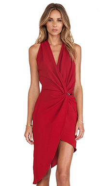 Halston Heritage Draped Neck Wrap Dress in Dark Crimson