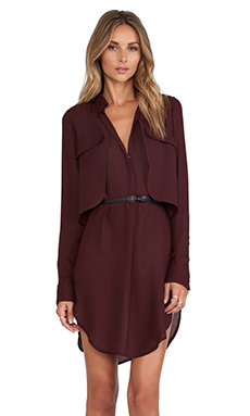 Halston Heritage Belted Shirt Dress in Syrah