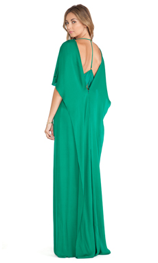 Halston Heritage Sheer Inset Gown in Emerald