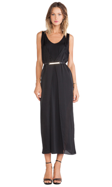 Halston Heritage Layered Slip Dress in Black