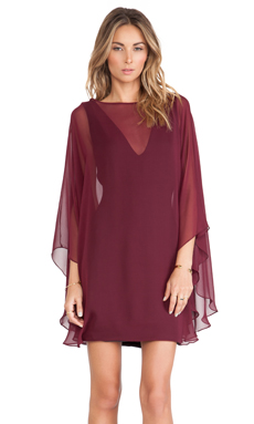 Halston Heritage Sheer Overlay Dress in Syrah
