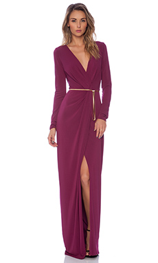 LONG SLEEVE CROSS OVER V NECK GOWN