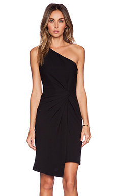 Halston Heritage One Shoulder Dress in Black