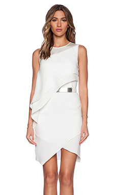 Halston Heritage Asymmetric Drape Dress in Bone
