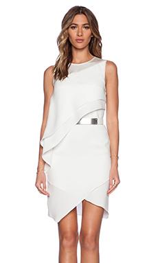 Halston Heritage Asymmetric Drape Dress in Bone