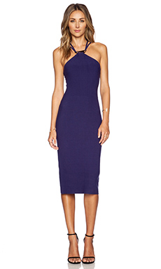 Halston Heritage Halter Sweater Dress in Aubergine