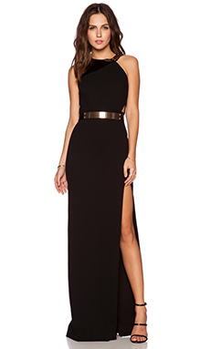 Halston Heritage Asymmetric Strap Gown in Black