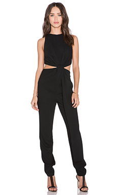 Halston Heritage Twist Cut Out Jumpsuit in Black