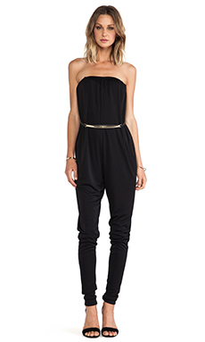 Halston Heritage Logo Belt Jumpsuit in Black