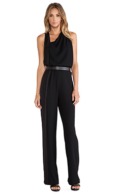 Halston Heritage Sleeveless Asymmetrical Jumpsuit in Black