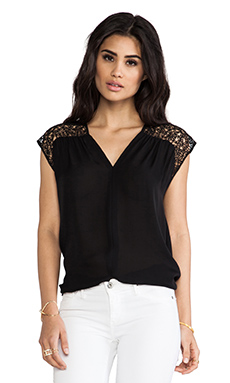 Halston Heritage Macarame Lace Detail Top in Black