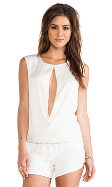 Halston Heritage Rolled Hem Top in Bone