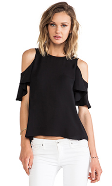 Halston Heritage Flutter Sleeve Cold Shoulder Top in Black